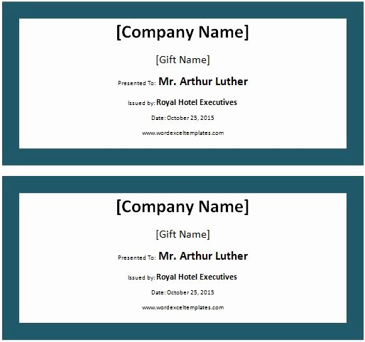 Hotel Gift Certificate Template New Hotel Voucher Template Ms Word Hotel Gift Certificate