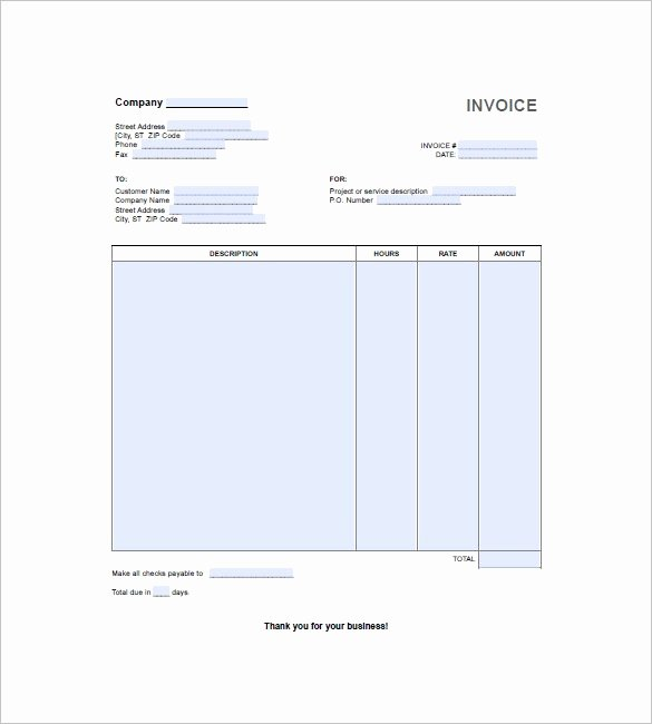 Hourly Invoice Template Excel Awesome Hours Worked Invoice Template Word 9 Things You Most