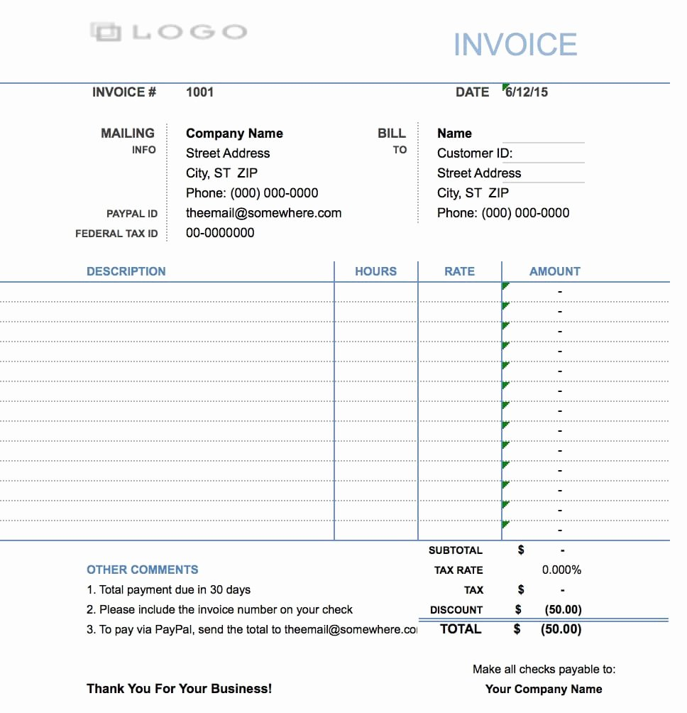 Hourly Invoice Template Excel Inspirational Free Hourly Invoice Template Excel Pdf