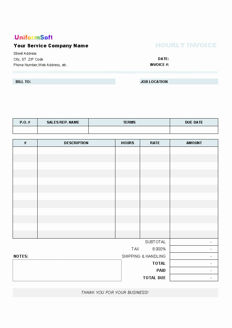 Hourly Invoice Template Excel Inspirational Hourly Invoice form Uniform Invoice software