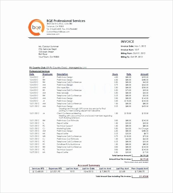 Hourly Invoice Template Excel Lovely Free Service Invoice Templates Billing In Word and Excel