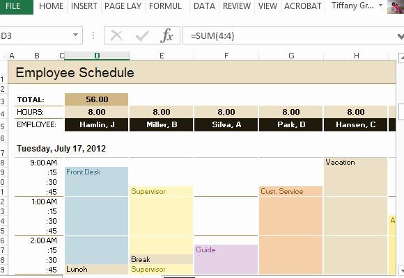 Hourly Work Schedule Template Awesome Employee Schedule & Hourly Increment Template for Excel