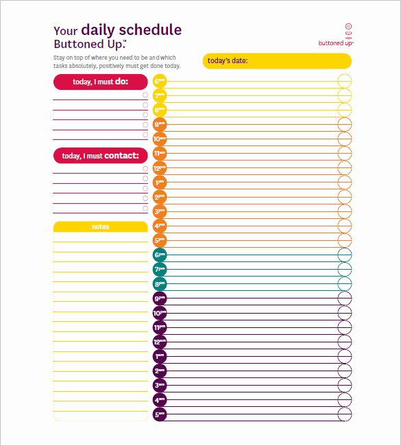 Hourly Work Schedule Template Beautiful 7 Day Schedule Template Free Sample Example format