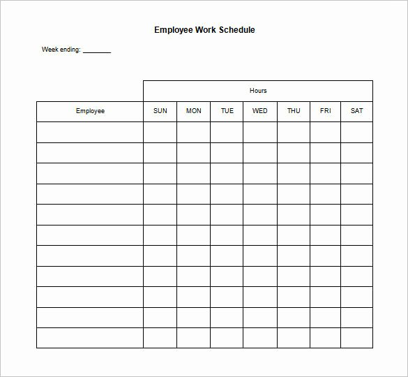 Hourly Work Schedule Template Beautiful Blank Restaurant Employee Schedule Template Templates