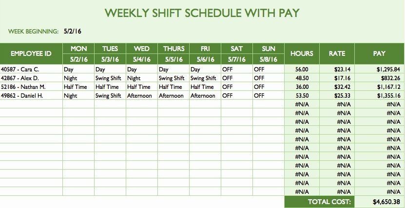 Hourly Work Schedule Template Beautiful Free Work Schedule Templates for Word and Excel