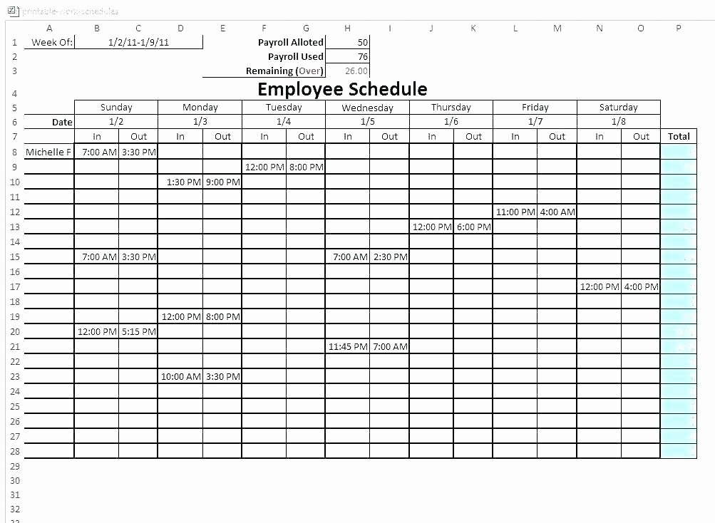Hourly Work Schedule Template Fresh Blank Hourly Schedule Template Hourly Schedule Template