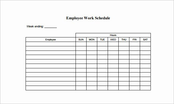 Hourly Work Schedule Template Fresh Employee Schedule Template 5 Free Word Excel Pdf