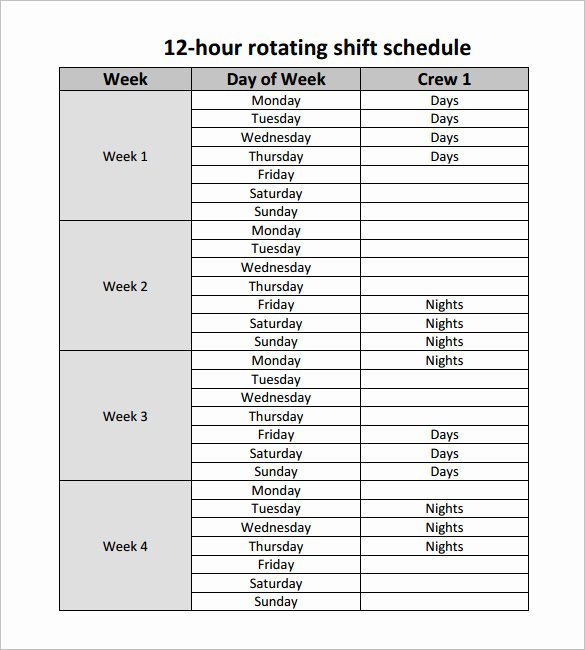 Hourly Work Schedule Template New 12 Hour Shift Work Schedule Template Templates Resume
