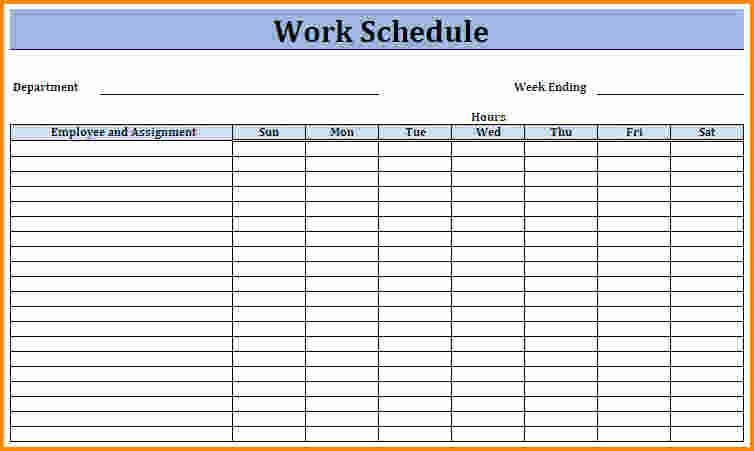 Hourly Work Schedule Template Unique 7 Monthly Work Schedule Template