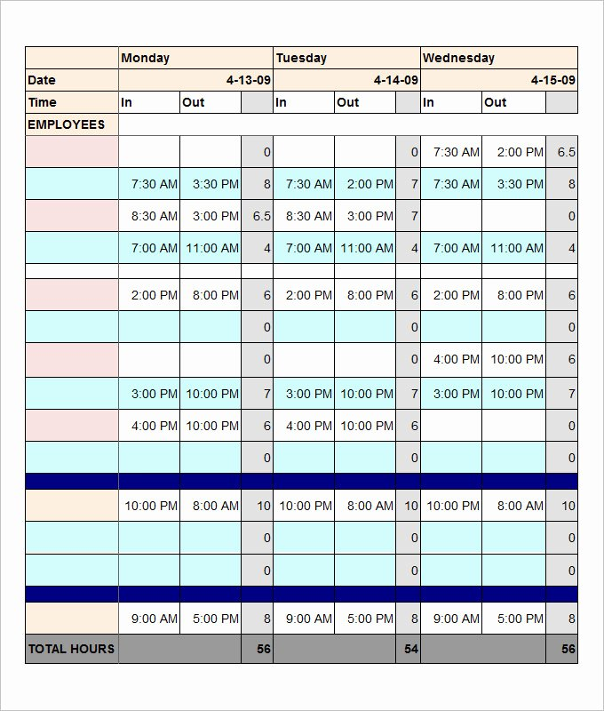 Hourly Work Schedule Template Unique Employee Schedule Template 5 Free Word Excel Pdf
