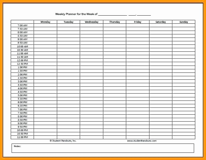 Hourly Work Schedule Template Unique Hourly Schedule Template Printable Weekly Calendar Planner