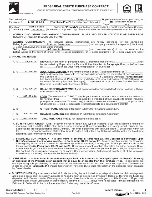House Buying Contract Template Beautiful Real Estate Purchase Contract Rds Rev 05 11