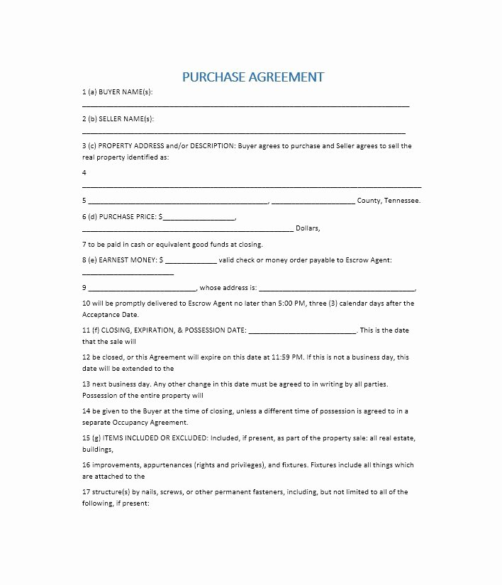 House Buying Contract Template Best Of 37 Simple Purchase Agreement Templates [real Estate Business]