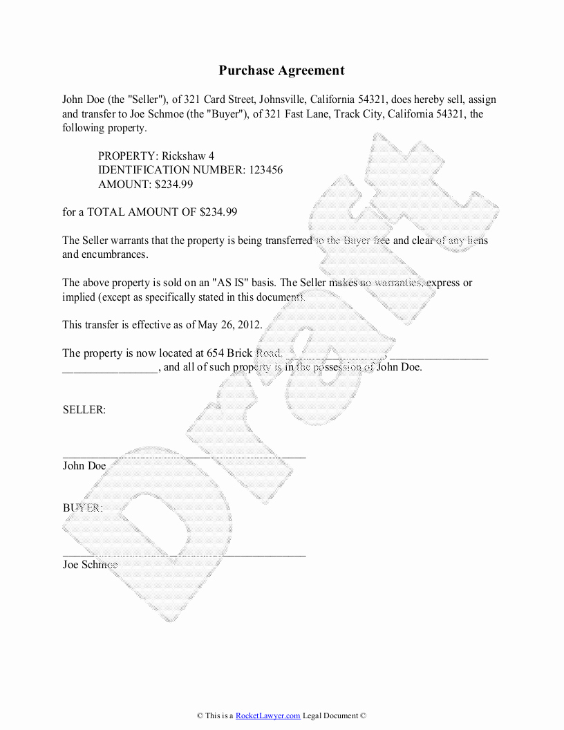 House Buying Contract Template Best Of Purchase Agreement Template Free Purchase Agreement