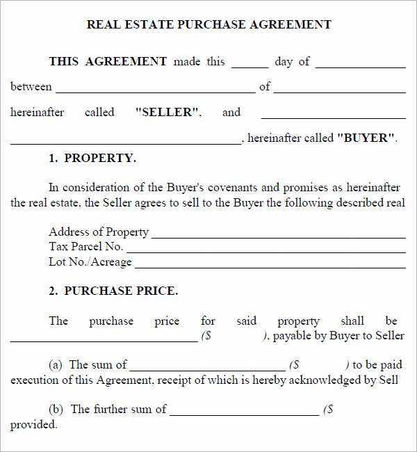 House Buying Contract Template Elegant Real Estate Purchase Agreement 7 Free Pdf Download