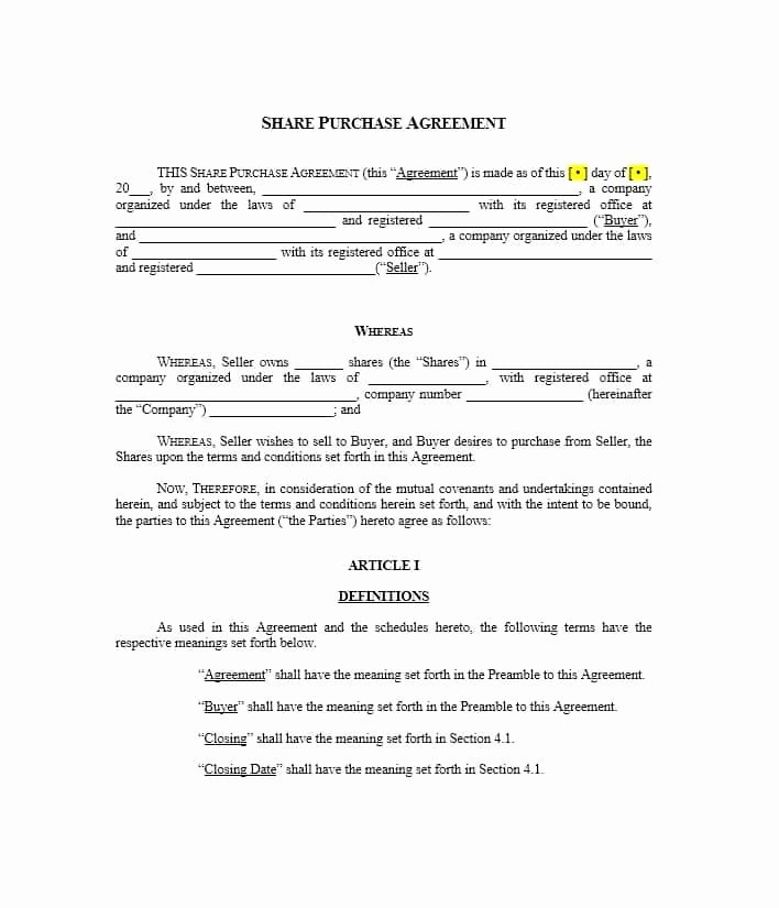 House Buying Contract Template Fresh 37 Simple Purchase Agreement Templates [real Estate Business]