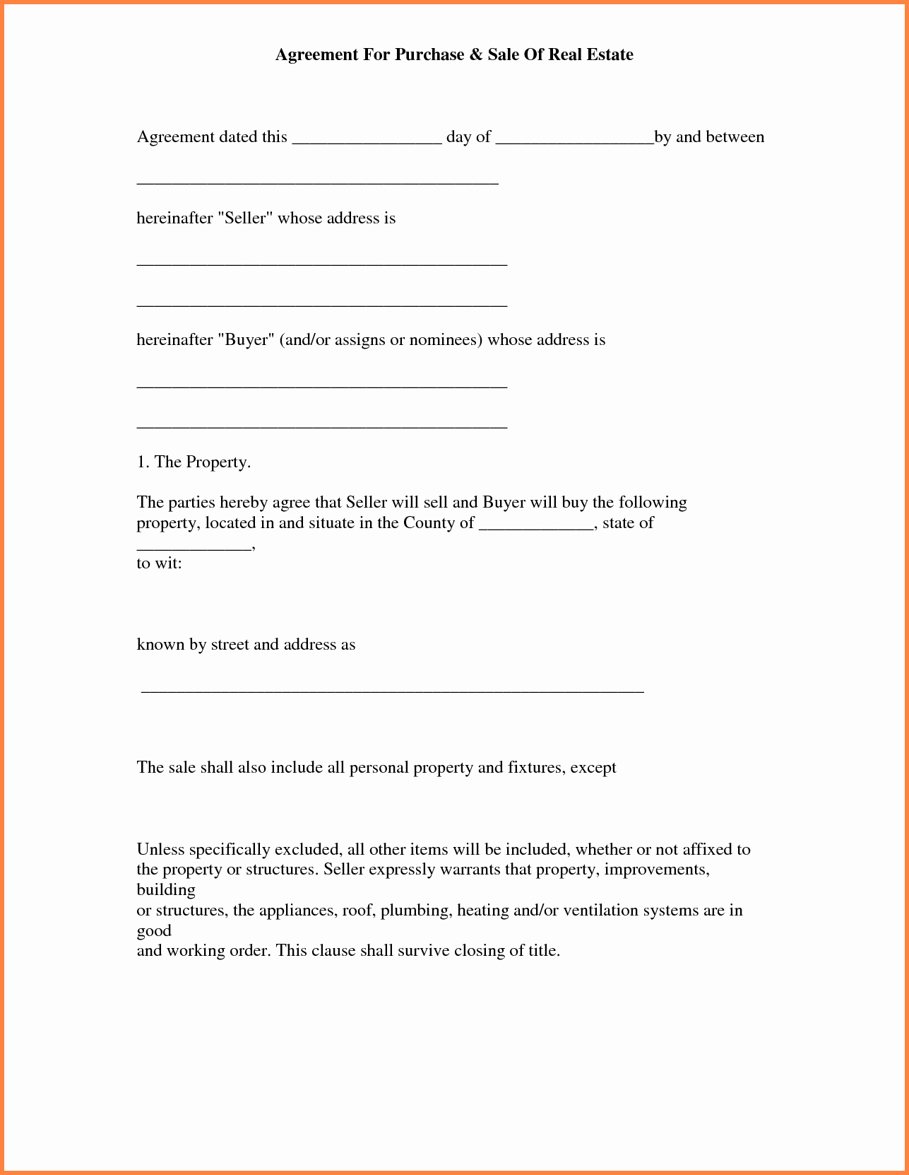 House Buying Contract Template Fresh Simple Land Purchase Agreement form