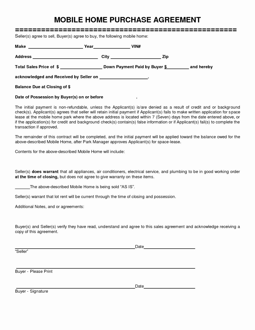 House Buying Contract Template Inspirational Mobile Home Purchase Agreement