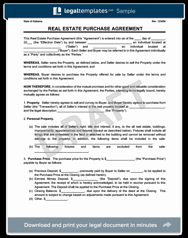 House Buying Contract Template Lovely Real Estate Purchase Agreement