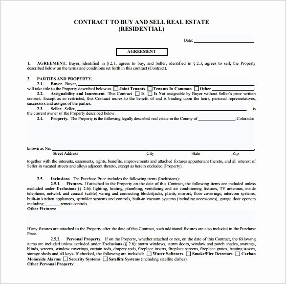 House Buying Contract Template Luxury Free Printable Real Estate Purchase Agreement