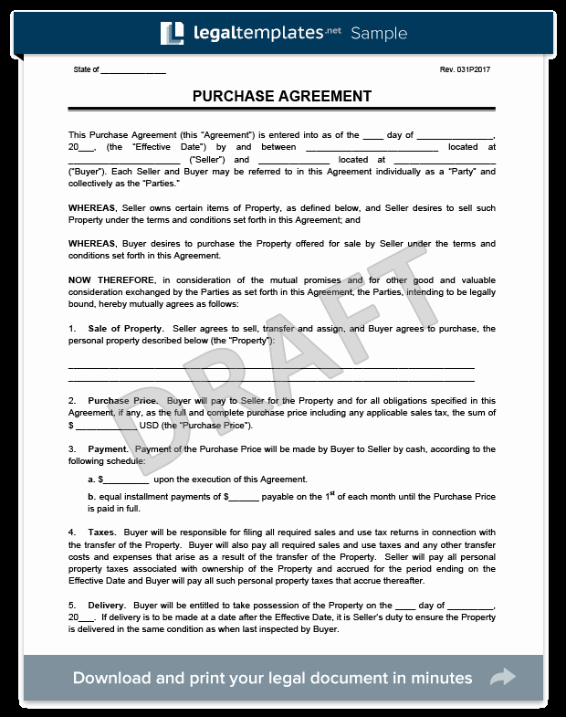 House Buying Contract Template Luxury Purchase Agreement Template