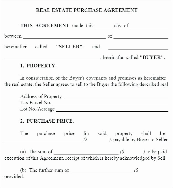 House Buying Contract Template Unique Free Purchase Agreement forms for Real Estate Fer