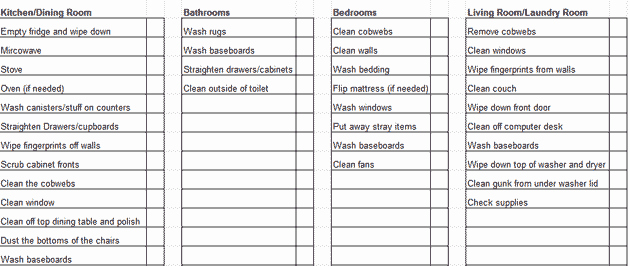 House Cleaning Checklist Template Awesome Weekly House Cleaning Schedule Template & Checklist Chart