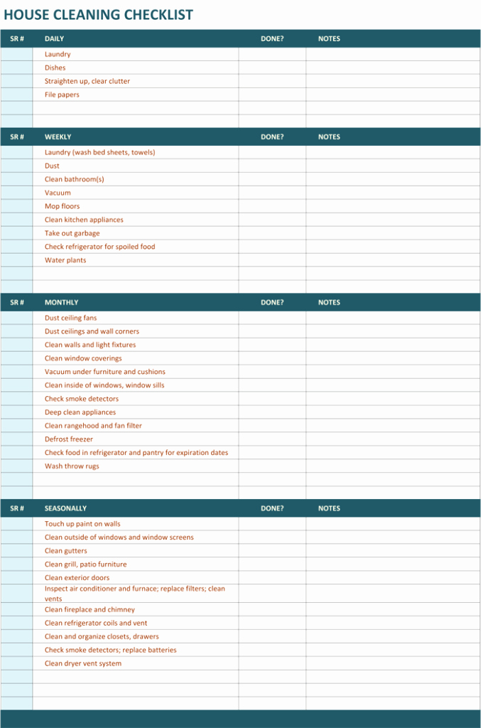 House Cleaning Checklist Template Beautiful House Cleaning Checklist Template to Unify Perfect Cleaning