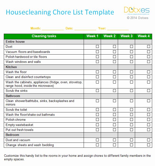 House Cleaning Checklist Template Best Of House Cleaning Chore List Template Weekly Dotxes