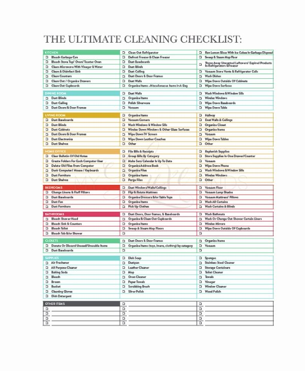 House Cleaning Checklist Template Fresh Cleaning Checklist 31 Word Pdf Psd Documents Download
