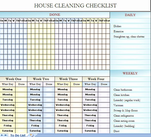 House Cleaning Checklist Template New Checklist for House Cleaning