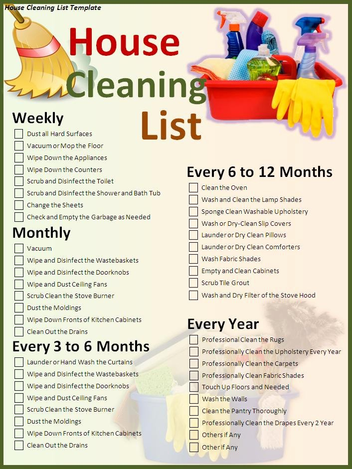 House Cleaning Checklist Template Unique 7 House Cleaning List Templates Excel Pdf formats