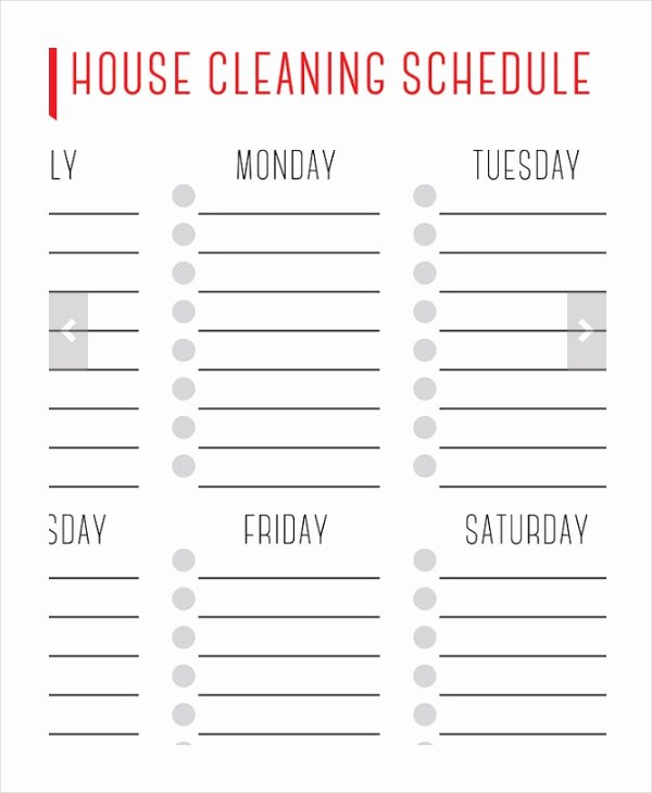 House Cleaning Checklist Template Unique House Cleaning Schedule 16 Free Word Pdf Psd