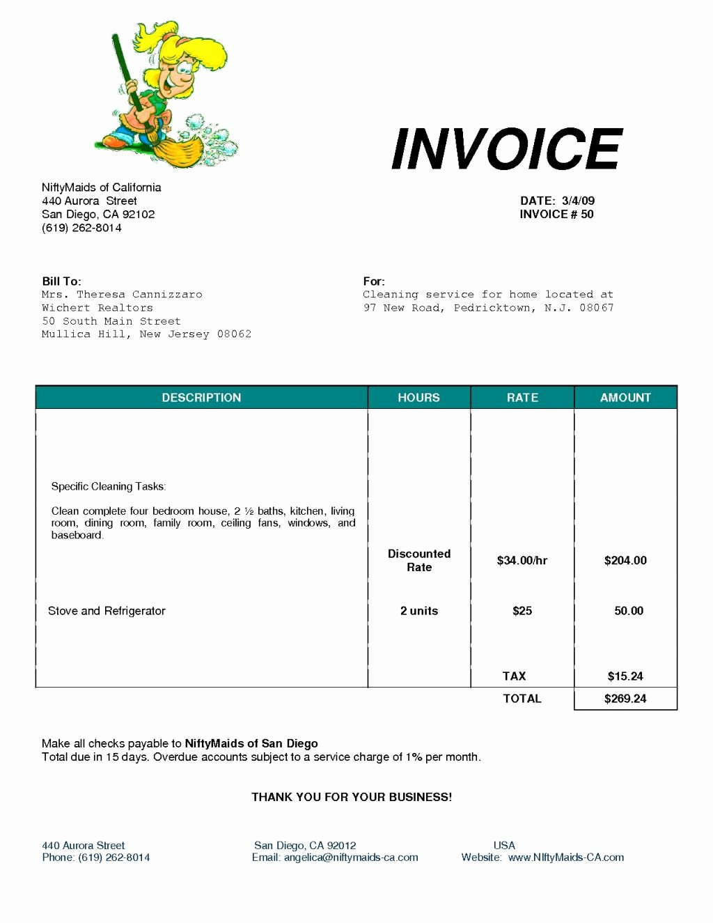 House Cleaning Invoice Template New House Cleaning Service Invoice Spreadsheet Templates for