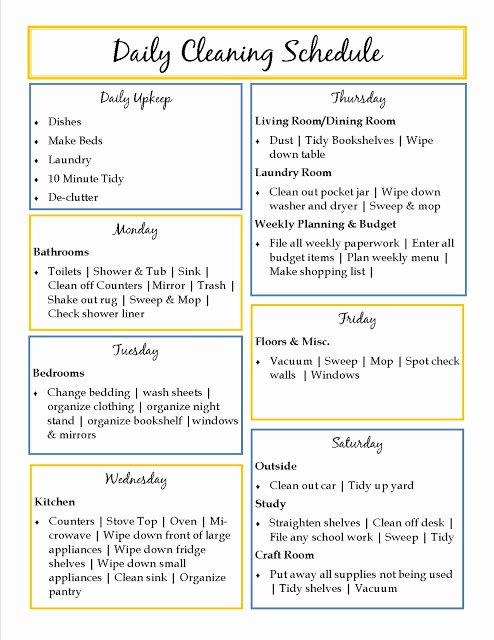 House Cleaning Schedule Template Awesome House Cleaning Daily House Cleaning Templates