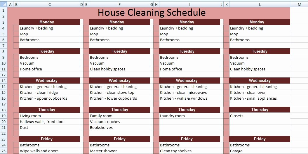 House Cleaning Schedule Template Beautiful Get House Cleaning Schedule Template Xls Free Excel