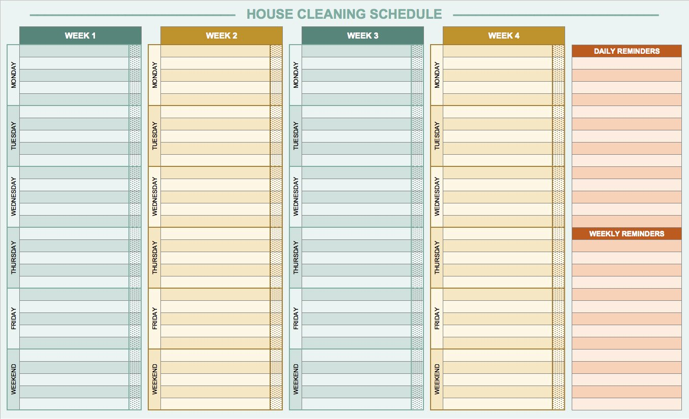 House Cleaning Schedule Template Elegant Free Daily Schedule Templates for Excel Smartsheet