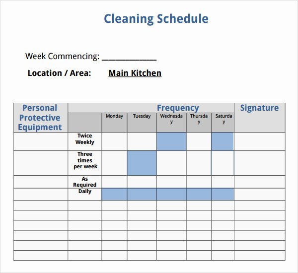 House Cleaning Schedule Template Fresh 7 House Cleaning Checklist Templates – Pdf Doc