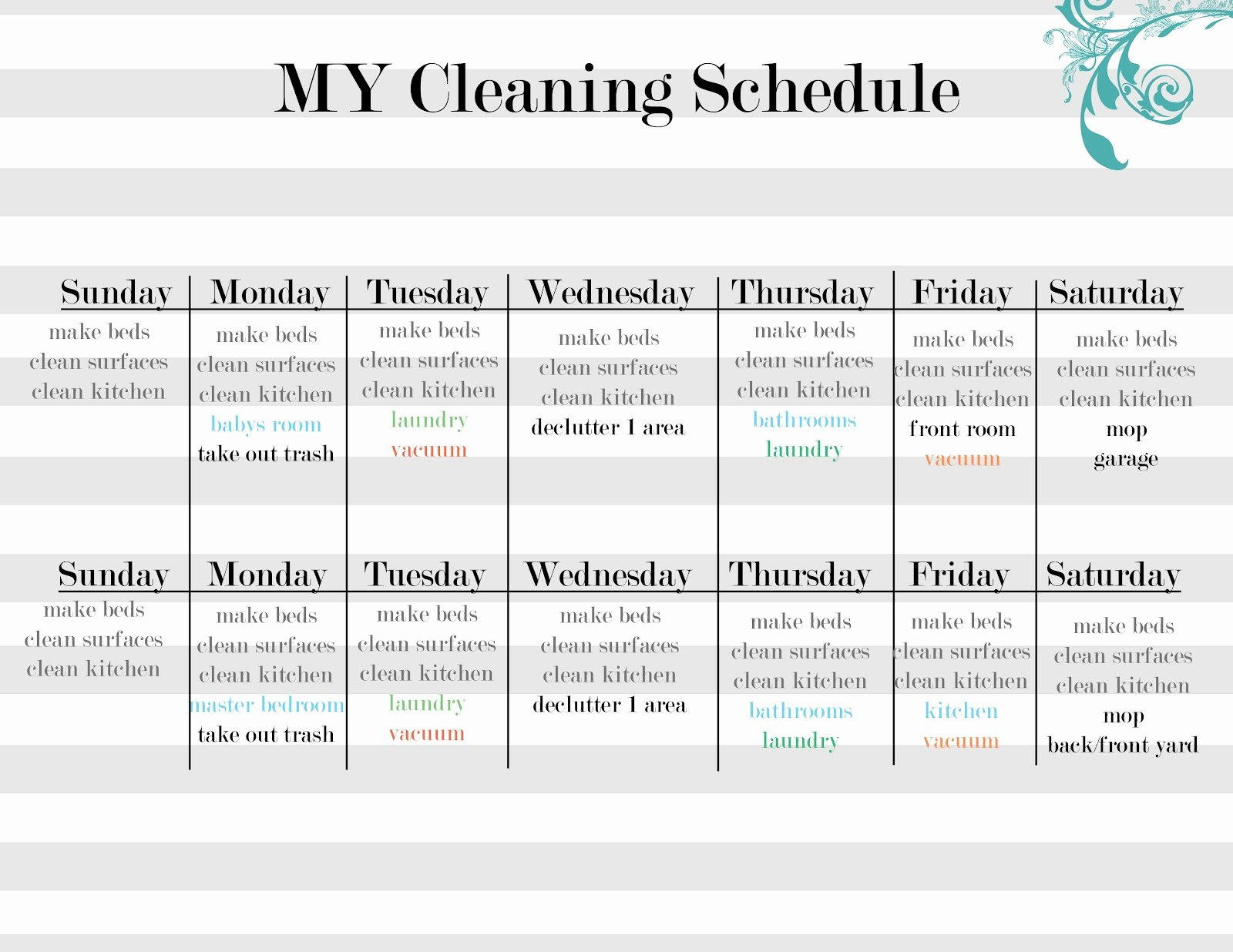 House Cleaning Schedule Template Fresh Cleaning Schedule Template