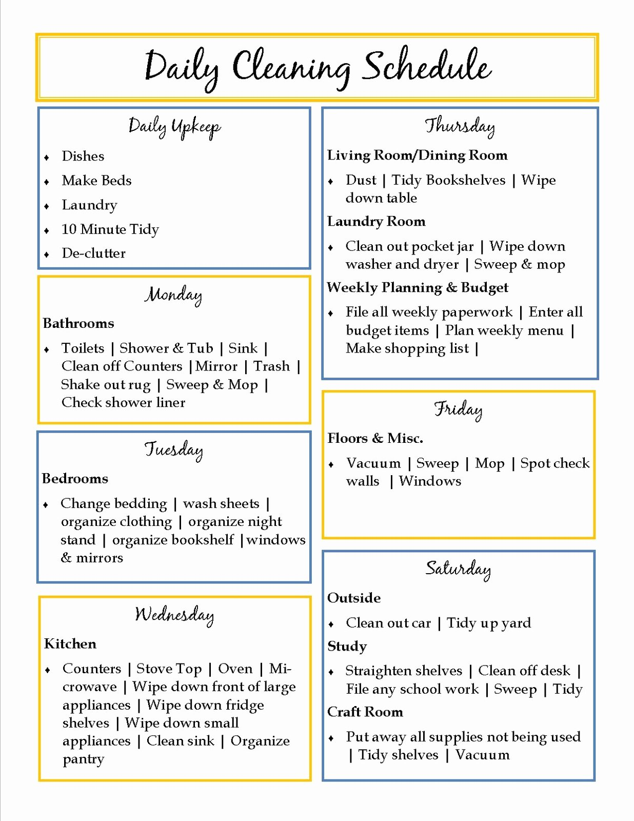 House Cleaning Schedule Template Inspirational 40 Helpful House Cleaning Checklists for You
