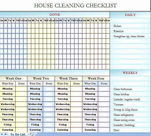 House Cleaning Schedule Template Luxury House Cleaning Checklist It S In Excel so You Can Change