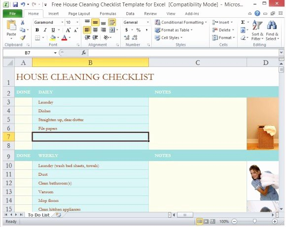 House Cleaning Template Free Elegant Free House Cleaning Checklist Template for Excel