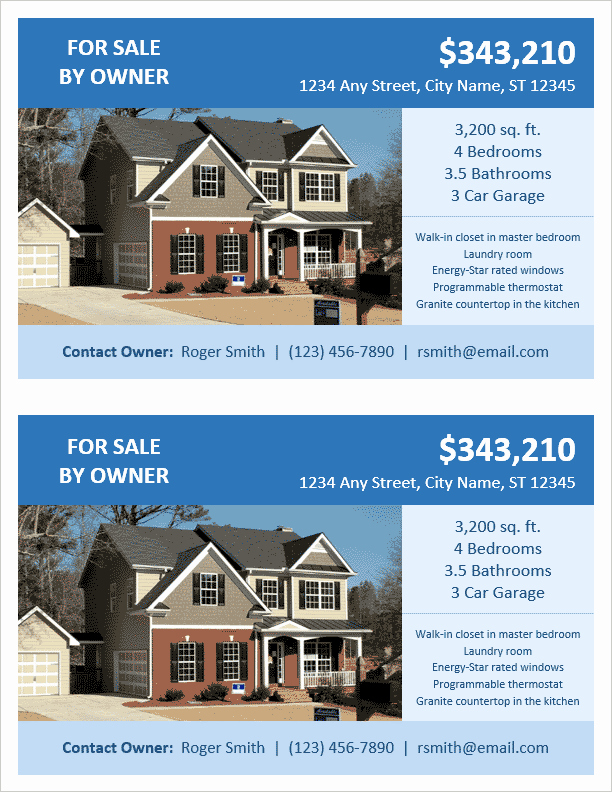 House for Sale Template Luxury Fsbo Flyer Template 2 Per Page by Vertex42