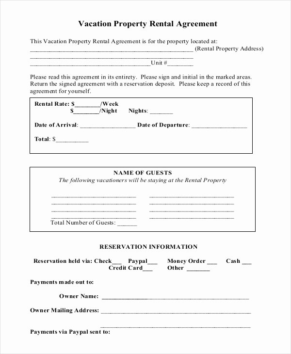 House Lease Agreement Template Awesome Vacation Rental Agreement – 8 Free Word Pdf Documents