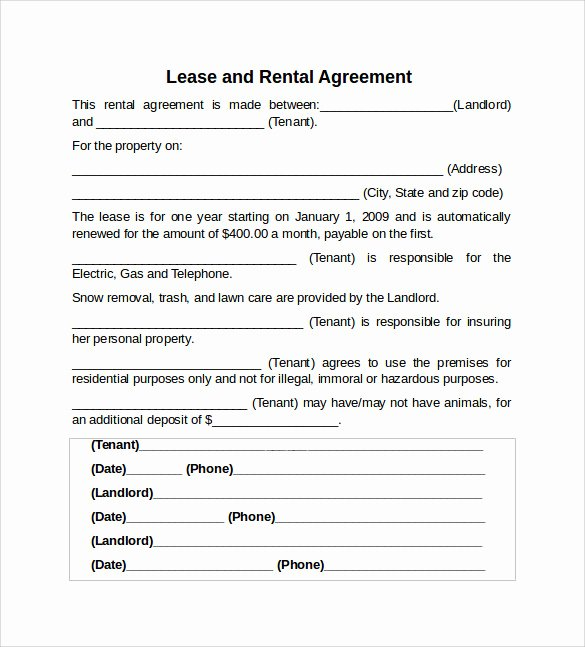 House Lease Agreement Template Beautiful 10 Sample Rental Lease Agreement Templates
