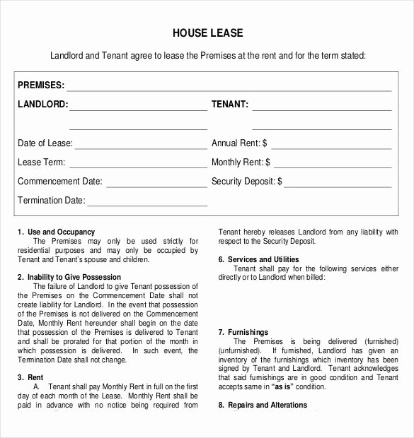 House Lease Agreement Template Beautiful Rental Agreement Template – 21 Free Word Pdf Documents