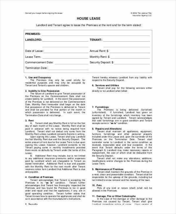 House Lease Agreement Template Best Of House Lease Template 7 Free Word Pdf Documents