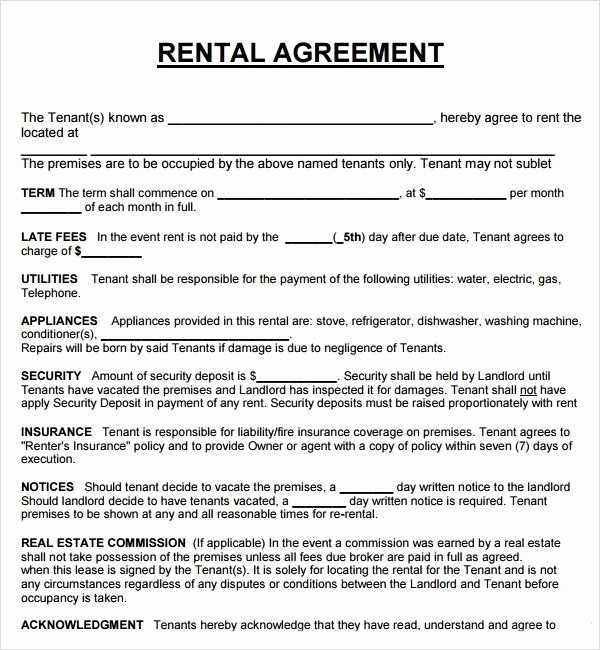 House Lease Agreement Template Fresh Rental Property Lease Agreement