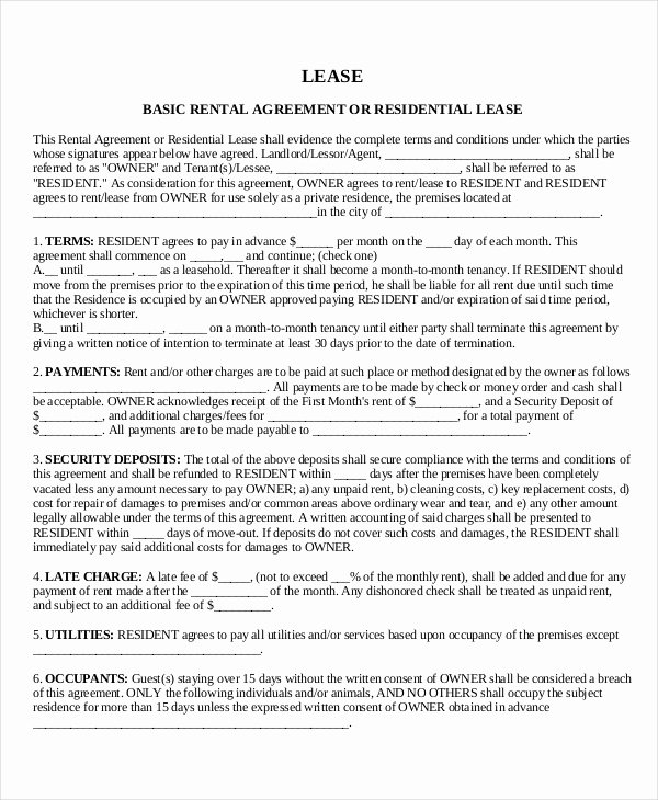 House Lease Agreement Template Lovely House Lease Template 7 Free Word Pdf Documents