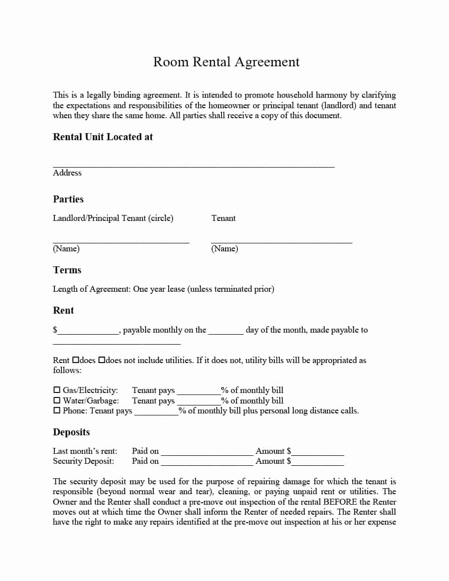 House Lease Agreement Template New 39 Simple Room Rental Agreement Templates Template Archive